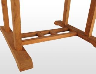 Mesa fija cuadrada. Detalle de patas.