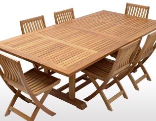 Mesa fija rectangular extensible con sillas plegables de respaldo bajo