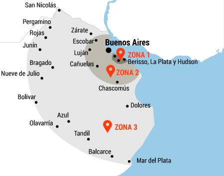 Mapa zonas de envío